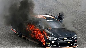 Alex Bowman's tire catches fire at Loudon