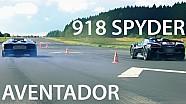 Porsche 918 Spyder vs Lamborghini Aventador Drag Race Acceleration Sound Launch Control 550Plus