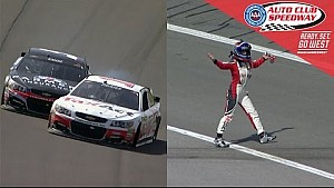 Patrick upset after contact with Kahne, resulting in a wild ride