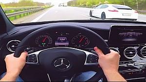 Mercedes C450 AMG Onboard POV Autobahn V6 Biturbo Sound C43 AMG W205