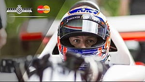 F1 Champ Jenson Button Arrives At FOS In Lauda's Legendary McLaren
