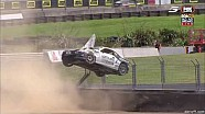 Huge crash as a Toyota bounces over the fence