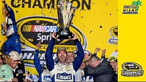 Johnson hoist the 2016 NASCAR Sprint Cup Series trophy