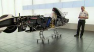 F1 racing car sliced into two!
