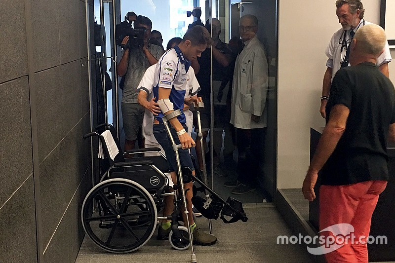 Silverstone'daki kazada, Rabat'ın bacağı