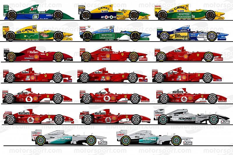 Галерея: всі 20 машин Шумахера в Ф1