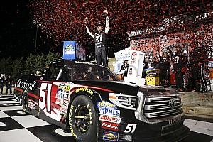 NASCAR Truck Race report Blown engine robs Rhodes of first win, handing victory to Busch
