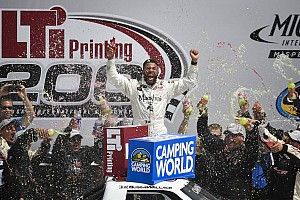 NASCAR Truck Race report Darrell Wallace Jr. takes spectacular win in Michigan Truck race
