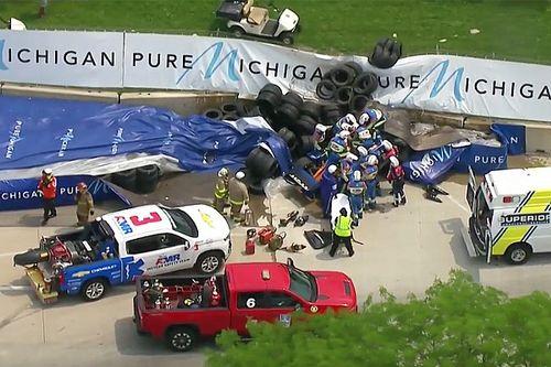Un fuerte choque de Rosenqvist causa bandera roja en Detroit