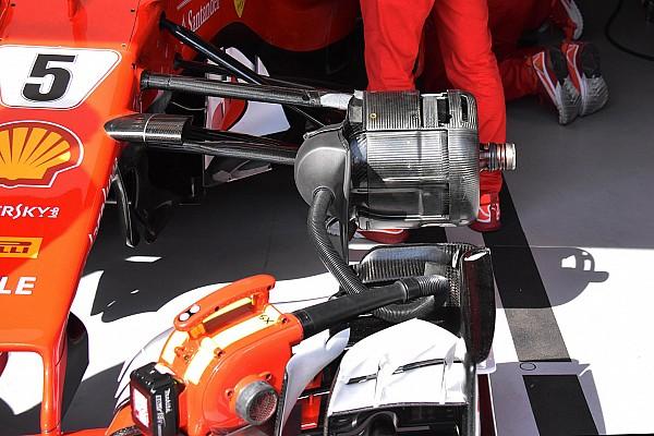Formula 1 Analisi Ferrari: diversi gli sfoghi d'aria sui cestelli dei freni dei due piloti