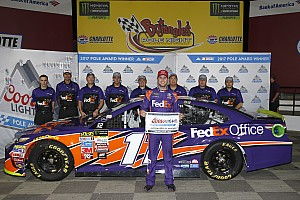 NASCAR Cup Qualifying report Denny Hamlin heads all-JGR front row in Charlotte qualifying