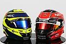 GALERÍA: los nuevos cascos de Pérez y Ocon