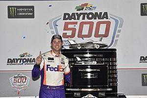 Denny Hamlin visits New York after winning 500