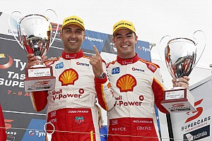 Supercars Race report Symmons Plains Supercars: Coulthard leads Penske 1-2