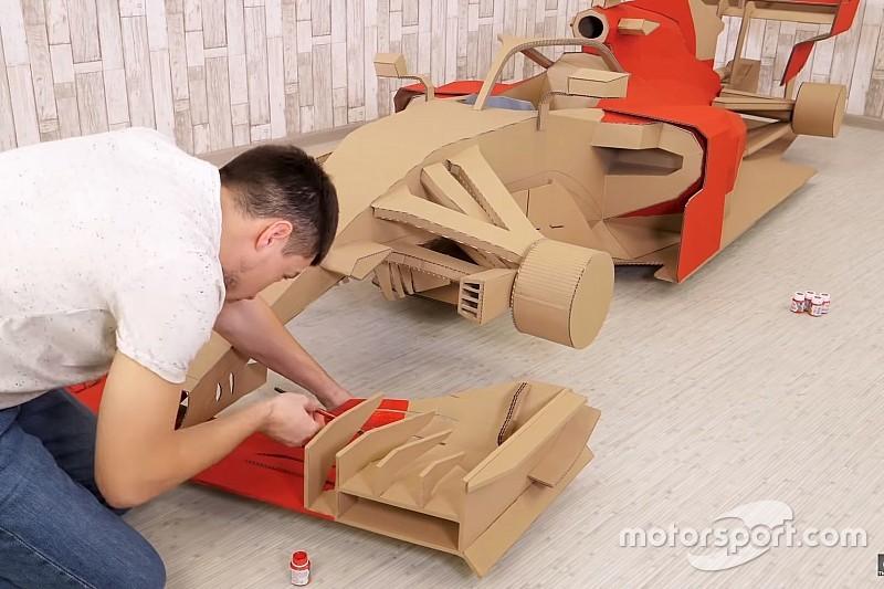 Помните машину Ф1 из картона? Теперь ее покрасили в ливрею Ferrari