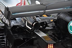Formula 1 Analisi Mercedes: scarico centrale carenato e braccio della sospensione a diapason