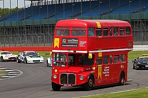 Automotive Breaking news British double-decker bus turns laps with race cars at Silverstone
