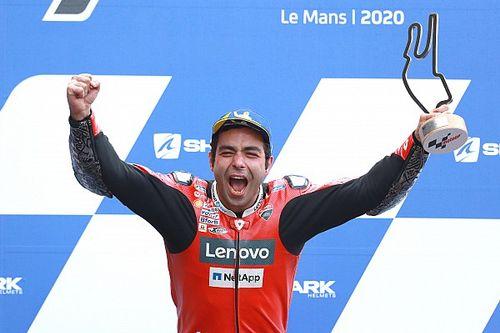 Le Mans MotoGP: Petrucci wins wild wet race from Marquez