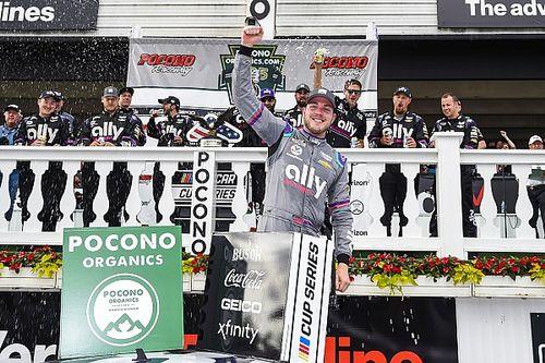 Bowman wins Pocono in dramatic finish as Larson blows tire