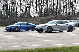 Гібридний Porsche Panamera проти атмосферного Audi R8 у драг-битві