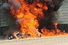 Фото: горящий мотоцикл Aprilia в гонке WSBK