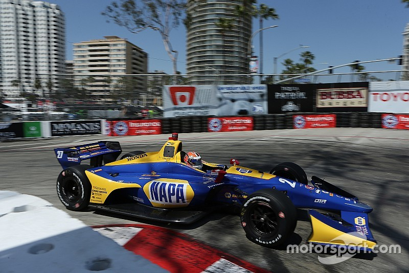 Long beach indycar rossi leads dixon in raceday warm up for Long beach honda