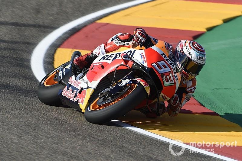 Márquez se quedó con el mejor tiempo del viernes en Aragón