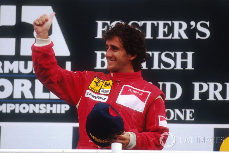 Podium: racewinnaar Alain Prost, Ferrari