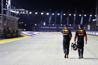 Second place Max Verstappen, Red Bull Racing, third place Daniel Ricciardo, Red Bull Racing heading back to the garages