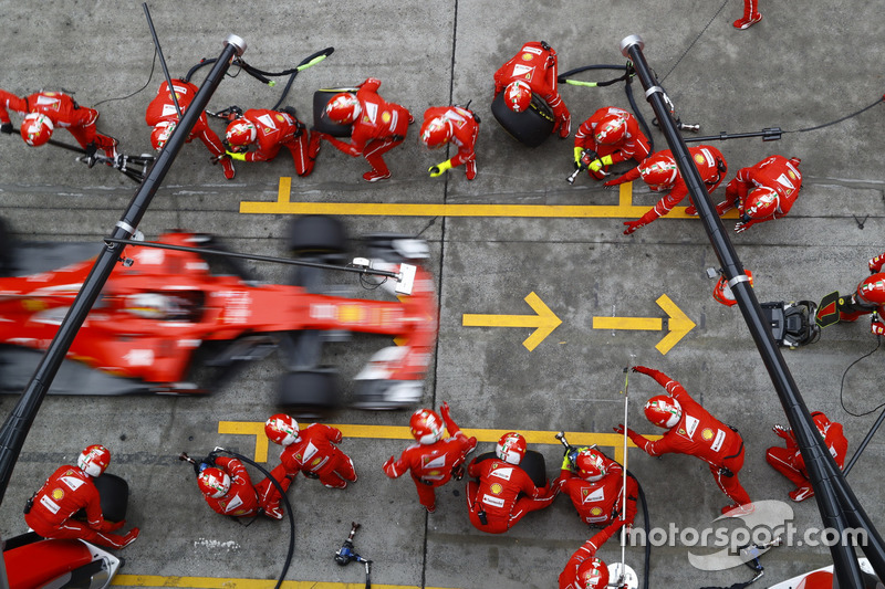 Sebastian Vettel, Ferrari SF70, makes a stop