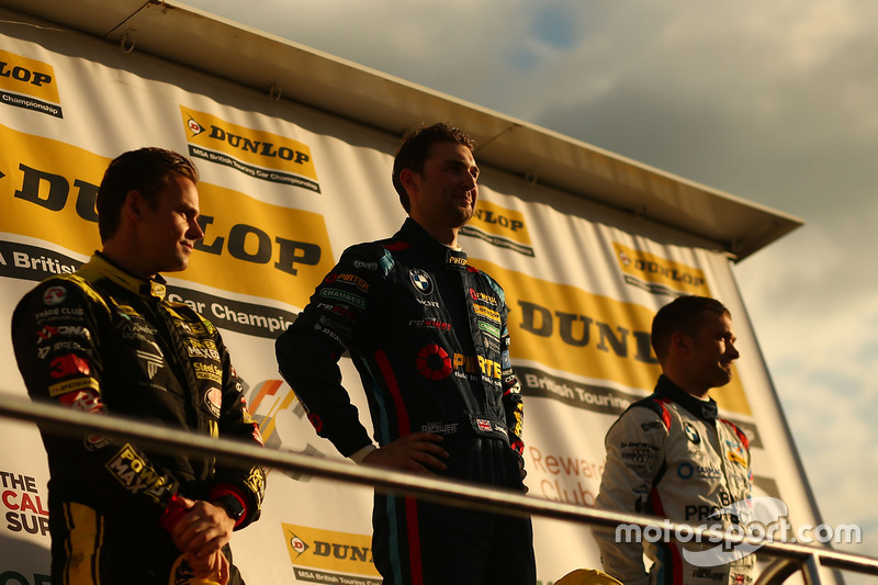 3. Tom Chilton, Power Maxed Racing, Vauxhall Astra; 1. Andrew Jordan, BMW Pirtek Racing, BMW 125i M Sport; 2. Colin Turkington, Team BMW, BMW 125i M Sport