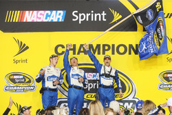 Hendrick Motorsports crew members celebrate in Victory Lane