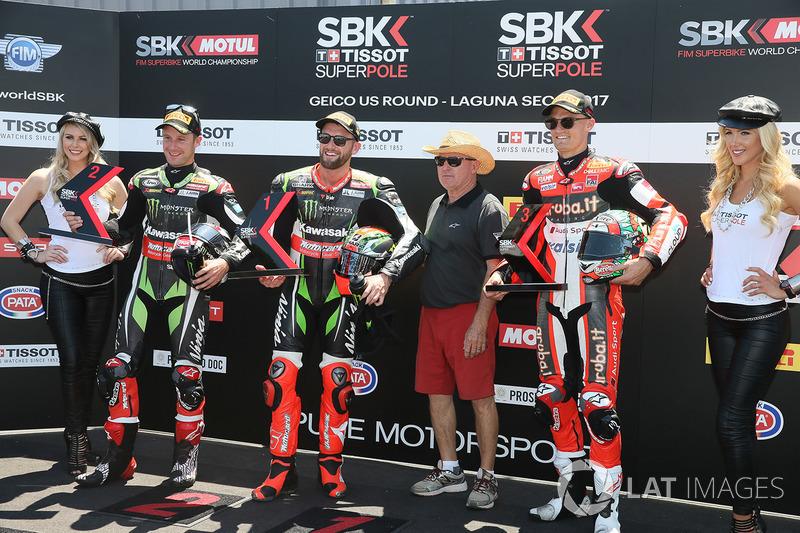 Polesitter Tom Sykes, Kawasaki Racing, second place Jonathan Rea, Kawasaki Racing, third place Chaz