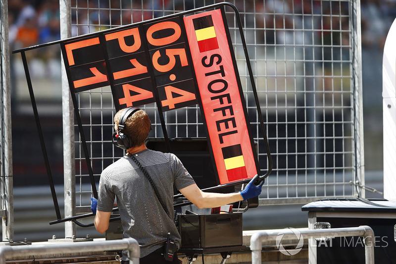 Механік тримає дошку про піт-стоп для Стоффеля Вандорна, McLaren