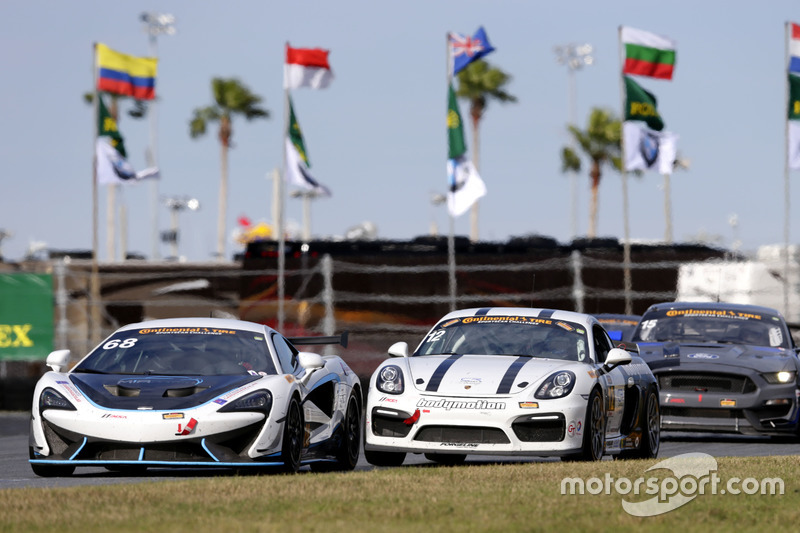 #68 Motorsports In Action McLaren GT4: Kenny Wilden, Rod Randall; #12 Bodymotion Racing Porsche Cayman GT4: Cameron Cassels, Trent Hindman