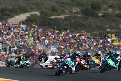 Crash, Gabriel Rodrigo, RBA Racing Team, KTM; Francesco Bagnaia, Aspar Team Mahindra, MahindraR