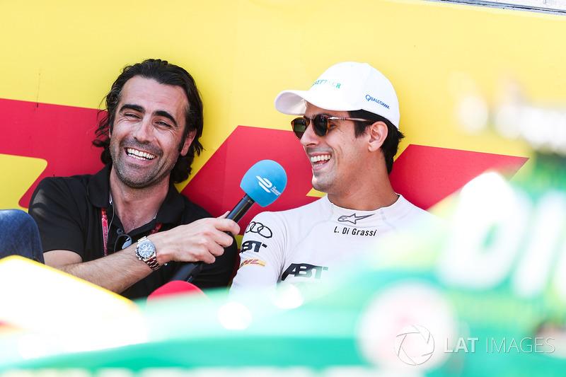 Lucas di Grassi, ABT Schaeffler Audi Sport, con  Dario Franchitti en la parrilla