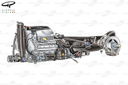 Red Bull RB9 engine and gearbox layout, note battery location on side of engine (marked with yellow triangular hazard sign)