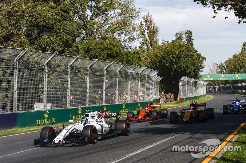 Lance Stroll, Williams, FW40; Jolyon Palmer, Renault Sport F1 Team, RS17; Stoffel Vandoorne, McLaren, MCL32
