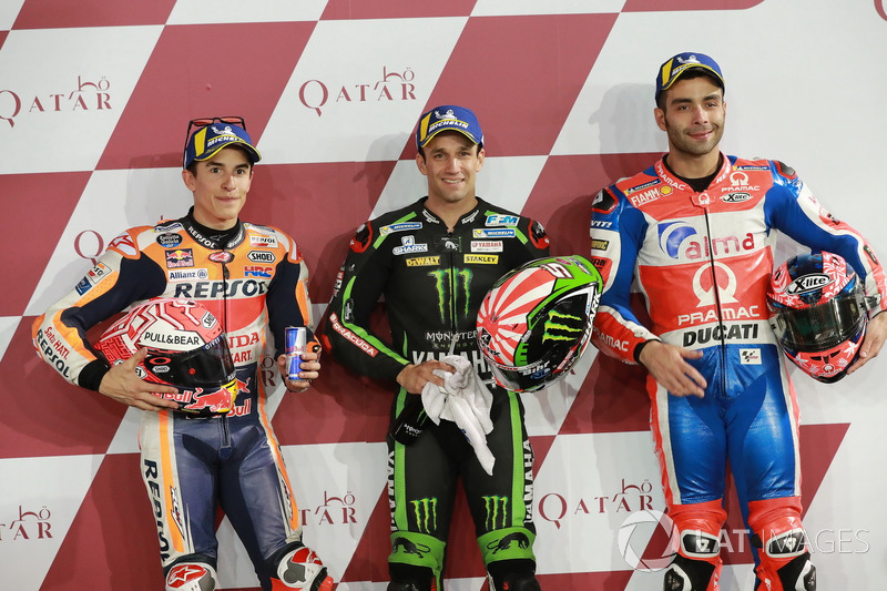 Top 3 after Qualifying: Marc Marquez, Repsol Honda Team, Johann Zarco, Monster Yamaha Tech 3, Danilo Petrucci, Pramac Racing