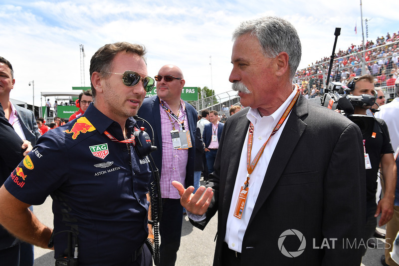 Christian Horner, Red Bull Racing Team Principal and Chase Carey, Chief Executive Officer and Execut