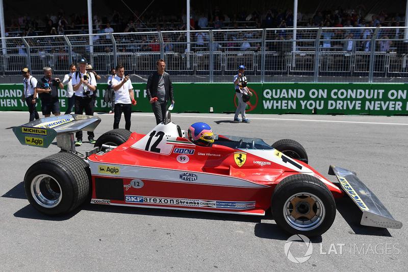 Jacques Villeneuve, guida la Ferrari 312T3 1978 del padre, vincitrice in Canada