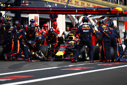 Max Verstappen, Red Bull Racing RB14, pitstop