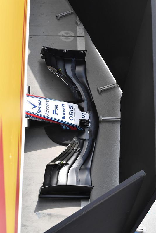 Detalles de la nariz y el ala delantera del Williams FW41