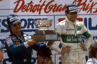 Michele Alboreto, Tyrrell Ford, 1st position, Keke Rosberg, Williams Ford, 2nd position on the podium