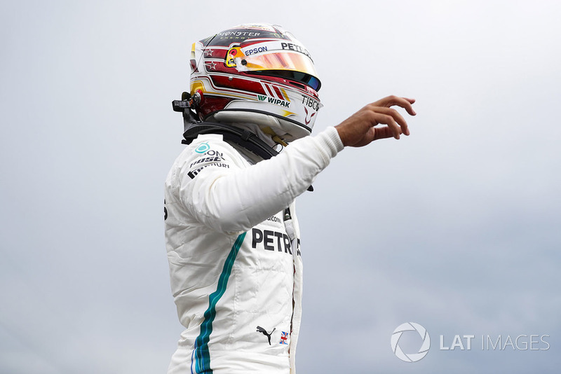 Lewis Hamilton, Mercedes AMG F1, celebrates pole position