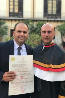 Max Rendina con il Magnifico Rettore, prof. dott. Stefano Masullo