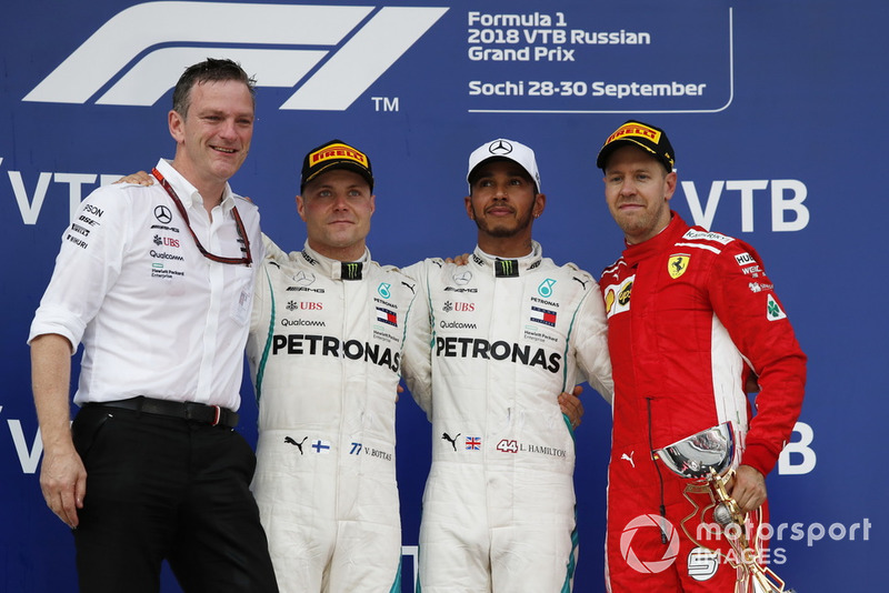 James Allison, Mercedes AMG F1 Technical Director, Valtteri Bottas, Mercedes AMG F1, Lewis Hamilton, Mercedes AMG F1 and Sebastian Vettel, Ferrari on the podium