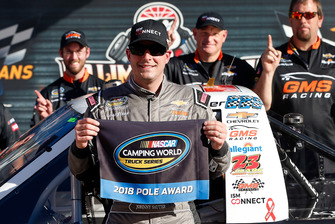 Pole sitter Johnny Sauter, GMS Racing, Chevrolet Silverado ISM Connect and Joe Shear