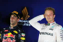 The podium (L to R): second placed Daniel Ricciardo, Red Bull Racing and race winner Nico Rosberg, Mercedes AMG F1